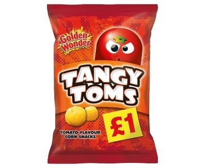 Golden Wonder Tangy Toms Tomato Flavour Corn Snacks 110g x 12