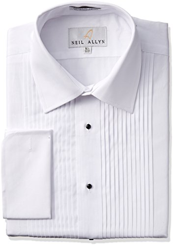 White Laydown Tuxedo Shirt - Tuxedo Shirt By Neil Allyn - 100% Cotton with Laydown Collar and French Cuffs (15.5 - 32/33, White)