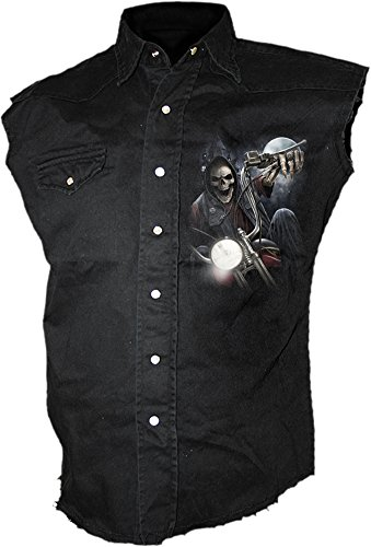 Wild Biker Shirt - Spiral - Mens - Night Church - Sleeveless Stone Washed Worker Black - XL