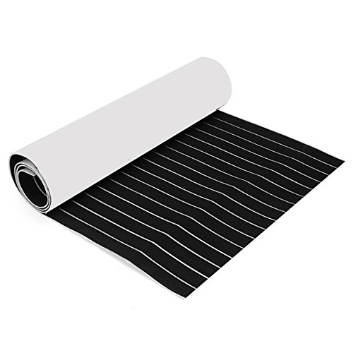 CoCocina 900x2400x6mm Black and White Self-Adhesive EVA Foam Teak Sheet Boat Decking Faux Marine Floor Board