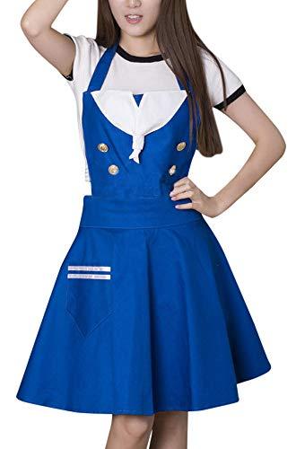 CRB Fashion Womens Ladies Teens Sailor Cosplay Lolita Baking Cooking Kitchen Pinafore Smock Apron -