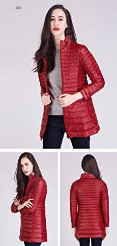 Cremallera Desgastar Packable Abajo Rojo Longitud Las Media Soporte Ligero Peso Coat Down Del Santimon Chaqueta Mujeres nbsp;De Collar gYZAqqxap