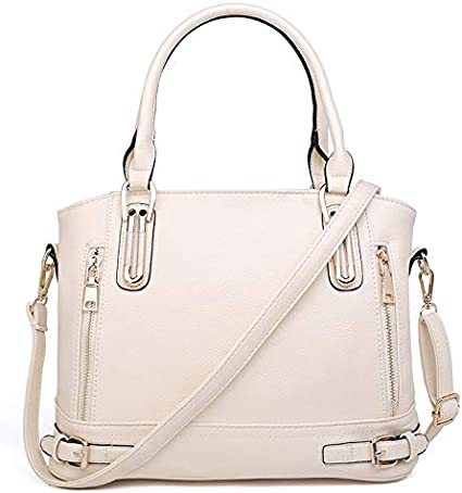 JUROUXIYUJI Ladies Big Bag Shoulder Bag Diagonal Bag Ladies Lychee Pattern Handbag Large Capacity Messenger Bag Color : White