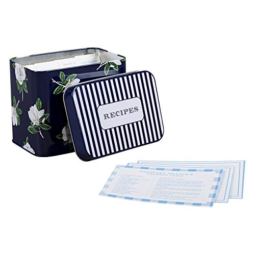 Draper James ADRJ014 Magnolia Recipe Storage Tin Box with 24 Card and 8 Dividers one Blue