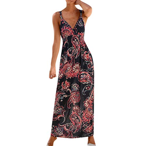 Womens Bohemian Sleeveless V-Neck Print Long Skirt Dress Party Dress Halter Black -