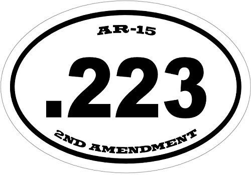 WickedGoodz Oval Vinyl 223 Caliber Gun Decal - 2nd Amendment Bumper Sticker - Perfect Gun Gift ()
