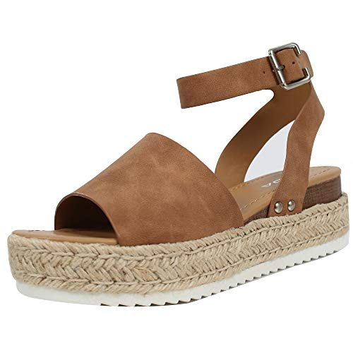 - SODA Women's Open Toe Halter Ankle Strap Espadrille Sandal, Tan, 8 M US