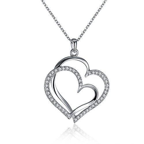 F-U Silver Plated Austrian Crystal Double Heart Pendant Necklace