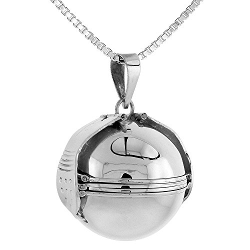 Sterling Silver Photo Ball Locket Necklace For Six Pictures 1 inch, 18 inch BX_30 by Sabrina Silver