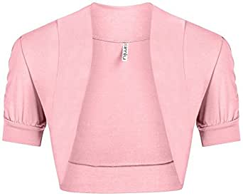 Womens Baby Pink Shrug Regular and Plus Size Pink Bolero Jackets for Evening Dresses Baby Pink Small