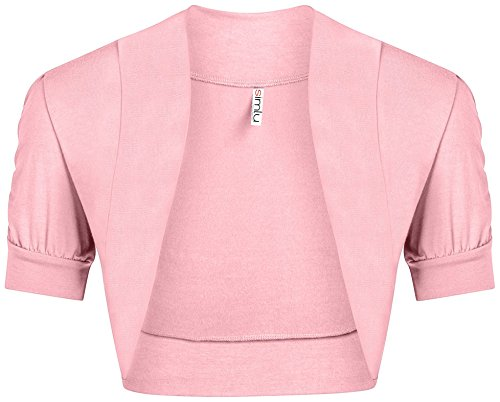 Simlu Womens Baby Pink Shrug Regular and Plus Size Pink Bolero Jackets for Evening Dresses,Baby -