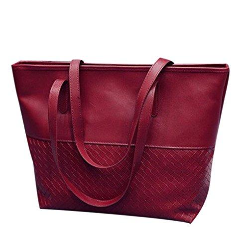 YJYDADA Bag,Woven Handbag Fashion Casual Bag Women Handbag Shoulder Tote Satchel Large Messenger Bag Purse (Red) from YJYDADA