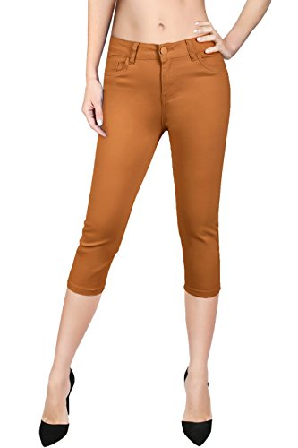 (2LUV Women's Stretchy 5 Pocket Solid Skinny Capri Jeans Mustard 11)