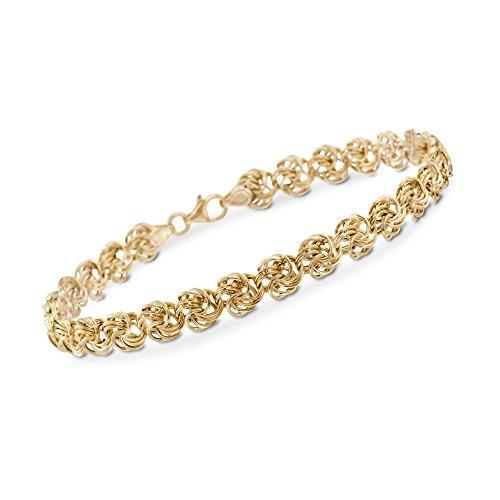 Ross-Simons Italian 14kt Yellow Gold Medium Rosette-Link Bracelet ()