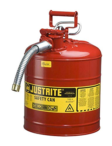 (Justrite 7250130 Galvanized Steel, AccuFlow Type II Red Safety Can 1