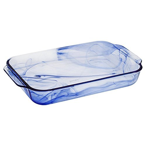Pyrex Watercolor Collection Blue Lagoon 3 Quart Oblong Baking Dish