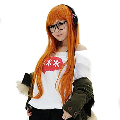 Persona 5 Futaba Sakura Wig Orange Long Straigt Wig Cosplay Halloween Coslive (Unisex Wig 80's)