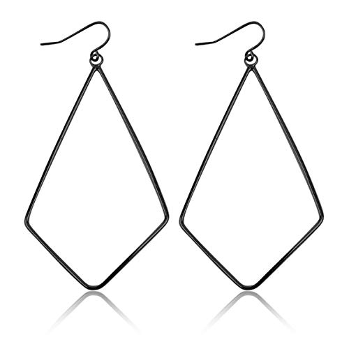 Lightweight Geometric Cut-Out Drop Earrings - Simple Metallic Open Hoop Wire Hook Dangles Teardrop, Oval, Kite, Petal (Wire Kite - Hematite) ()