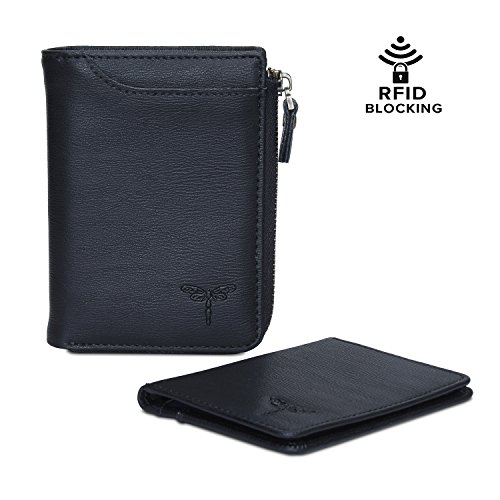 Classic Leather Billfold - Bifold Wallet for Men RFID Blocking Genuine Leather Wallet With Zipper Classic Style