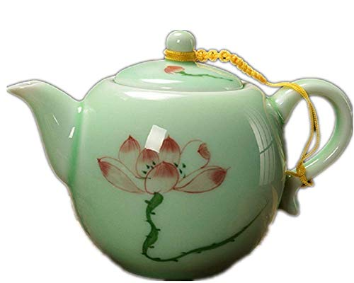 DELIFUR Longquan Celadon Handcrafted Tea Set Underglaze Colour Porcelain Hand Painted Lotus Theme Puer Tea Pot Single Pot (Round Red Lotus)