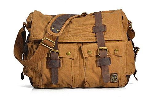 BAO Herren Taschen Herren- & Damentaschen Business Aktentaschen Computer Taschen Canvas Damentaschen Crazy Horseskin Vintage-Mode Lässig Schultertaschen XL-KHAKI SHre2LHxLy