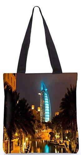 """Snoogg Glühenden Veiw Am Dubai-Einkaufstasche 13,5 X 15 In """"Einkaufstasche Dienstprogramm Trage Aus Polyester Leinwand"""