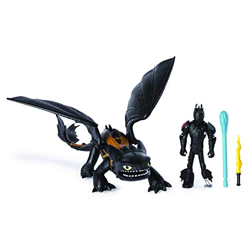 Dreamworks Dragons, Toothless & Hiccup, Dragon with Armored Viking Figure, for Kids Aged 4 & Up