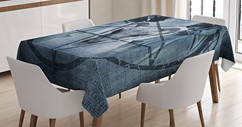 (Ambesonne Horror House Decor Tablecloth, Artwork with Pentagram Icon Goat Skull Devil Dream Hoody Figure Exorcist Image, Dining Room Kitchen Rectangular Table Cover, 60 W X 90 L Inches, Blue)