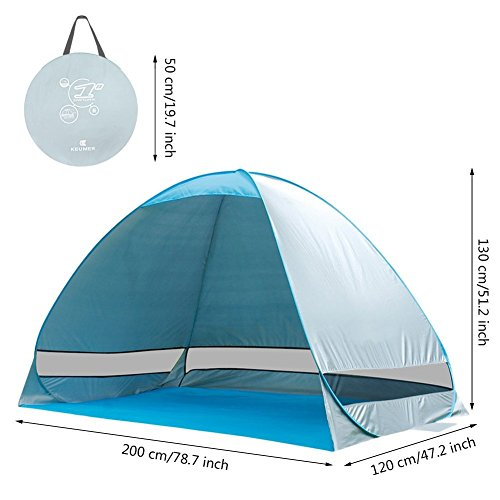 e-Joy Outdoor Automatic Pop up Instant Portable Cabana Beach Tent 2-3 Person Camping Fishing Hiking Picnic Anti UV Beach Tent Beach Shelter, Sets up in Seconds (Blue)