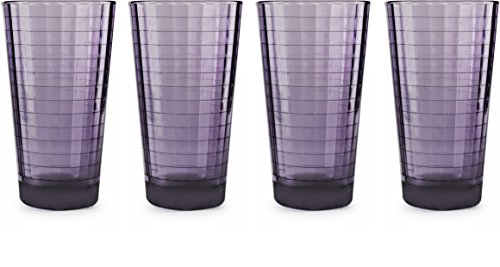 Circleware 44822 Windowpane Heavy Base Juice Drinking Glasses, Set of 4 Kitchen Entertainment Ice Tea Beverage Cups Glassware for Water, Milk, Beer, Whiskey and Bar Decor Gift, 17 oz, Plum by Circleware (Image #1)