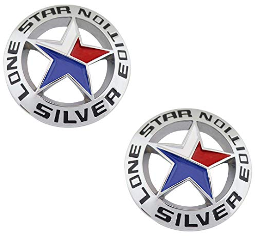 Muzzys (Set of TWO) LONE STAR SILVER EDITION Texas Emblem Decal Longhorn METAL Badge Universal Stick On for Chevy Silverado Suburban Tahoe GMC Sierra Ford F150 Ranger F-150 Dodge Ram Nissan Titan Car