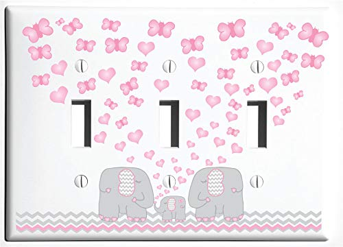 Pink Elephant Light Switch Plate and Outlet Covers/Elephant Nursery Decor with Grey and Pink Chevrons with Pink Hearts and Butterflies (Triple Toggle) by Presto Light Switch Plate Covers