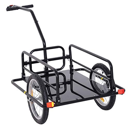 Bike Cargo Storage Cart and Luggage Trailer with Hitch Folding Bicycle Black by Caraya (Image #9)