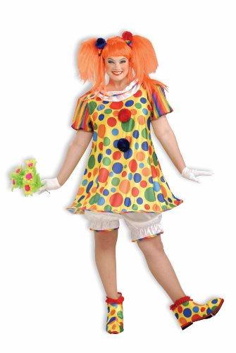 [Forum Giggles The Clown Costume,  Multicolor , Plus Size] (Lady Reaper Adult Plus Size Costumes)
