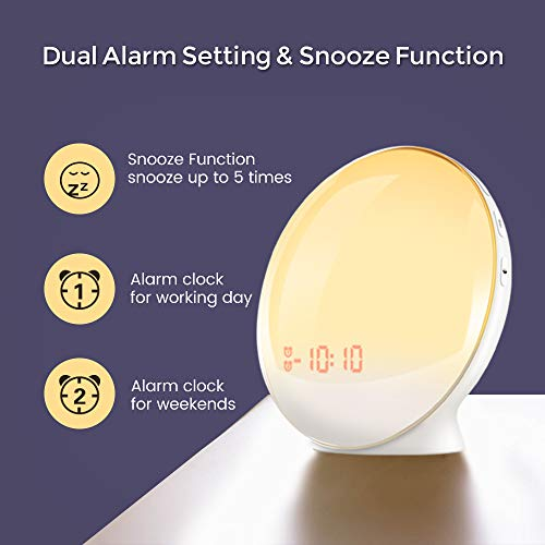 Sunrise Alarm Clock for Kids, TITIROBA, Wake Up Light for bedrooms, Dual Alarm with FM Radio, Digital LED Clock with Snooze Function, Night Light with Sunset Simulation, USB Charge Port-AM/PM by TITIROBA (Image #1)