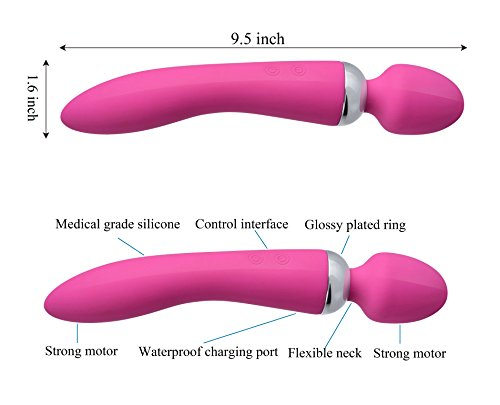 Dual Wand Handheld Massager - 2 Independent Motors, 10 Speed -Therapeutic Muscle Relaxation and Relief for Foot, Back, Shoulders - Waterproof, Cordless, USB Rechargeable, Pink -By O-wOw