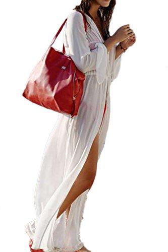 Damen Long Sleeve Split Maxi Cardigan Strandkleid