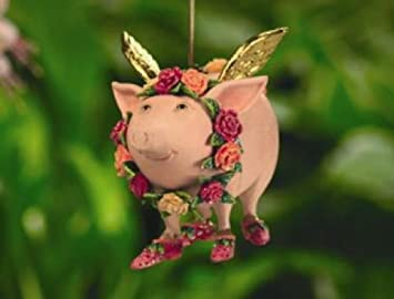 Amazon.com: Patience Brewster Rose Flying Pig Ornament - Krinkles ...