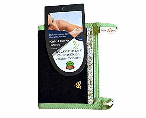 Kelebek Kese Turkish Hammam Bath Glove Skin Exfoliating Spa Mitt Black