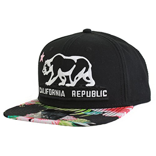 Dolphin Shirt Co California Republic Bear Flag Flat Bill Snapback Hat -  Tropical Floral Pattern d85aad373990