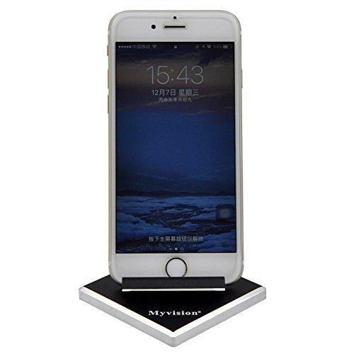 Myvision Mobile Phone Holder Android Cellphone Tablet Stand Solid Portable Universal Aluminum Desktop Smart Mobile Cell Phone Mini Holder Desk Office Kitchen Home Travel, Black