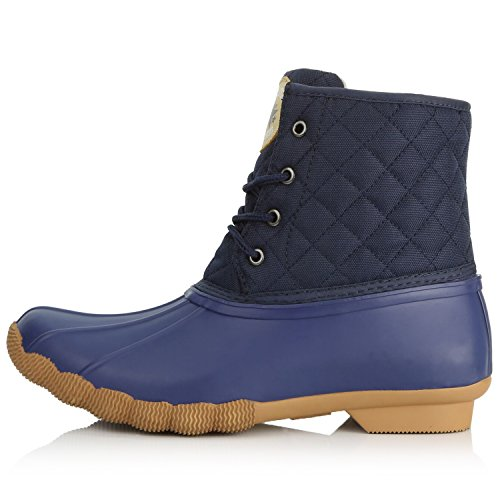 Padded Booties up Blue Women's Waterproof DailyShoes Boots Snow Rubber Duck Blue Quilted Rain Ankle High Mud y1SycUF8q
