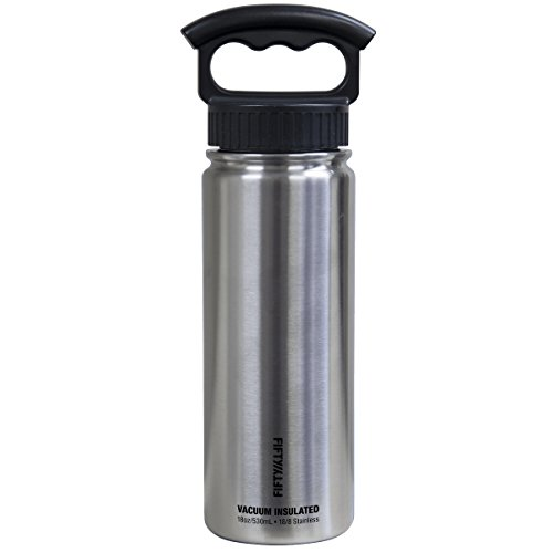 FIFTY/FIFTY Sport Water Bottle, 3 Finger Wide Mouth Cap, 18 oz/530ml, Silver ()