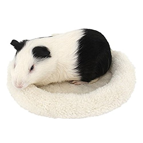 Hamster Bed Round Warm Sleep Mat Pad for Hamster Hedgehog Squirrel Guinea Pig Small Animals (L, Beige)
