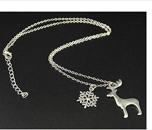 zmnbaa 1 Pieza De Plata Ciervos De Navidad con Copo De Nieve DIY Joyería Hecha A Mano Regalos De Amistad De Navidad E735