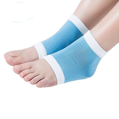GEL talon chaussettes pour les peaux sèches dur fissuré hydratante chaussettes de récupération confortable bout ouvert (White-Blue)(Small)