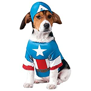CAPTAIN AMERICA - Superhero Dog Costumes Funny Pet Halloween Fancy Dress Pet Supplies (M)