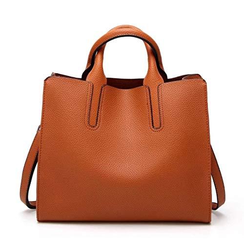 Bolsos Smooth color Cuero Bolsas La Marrón De Pu Brown Viaje Mensajero handle Top Mujer Hombro Tamaño rRxrt7P