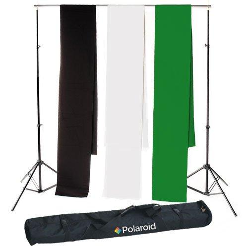 Toile de fond en mousseline premium noire Polaroid Pro Studio inclut un sac de transport de luxe + Toile de fond en mousseline premium verte cl/é chr Syst/ème de support de toile de fond t/élescopique de Polaroid Pro Studio 3 m x 5 m
