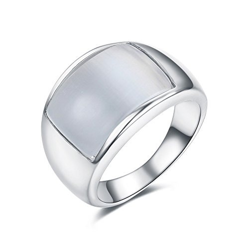 - Redbarry 18k Platinum Plated Clear Opal Stone Wide Party Unisex Cocktail Ring, Size 5.5